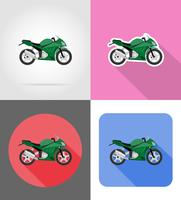 Iconos planos de motocicleta vector illustration