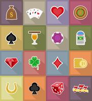 casino objects and equipment flat icons vector illustration