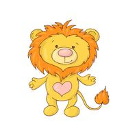 Cute lion baby. Baby shower card. vector
