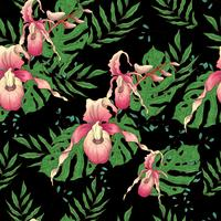 Vector hand drawn seamless pattern with stylized orchid branch for your design on the black background