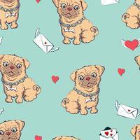 naadloze patroon met honden, kinderachtig patroon met honden, vector textieldruk, inpakpapier.