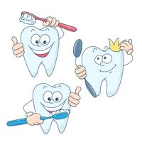 Art on the topic of children's dentistry. Cute cartoon healthy and beautiful teeth.