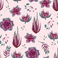 Hand drawn decorative seamless pattern with cacti and succulents