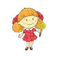 Uma menina encantadora dos desenhos animados encantador com um pirulito.
