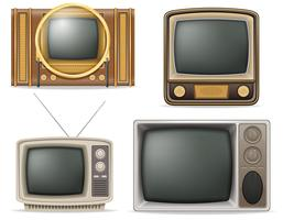 tv old retro vintage set icons stock vector illustration