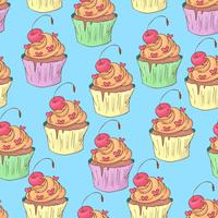 St. Valentine s Day seamless pattern with cupcakes. Vector illustration.