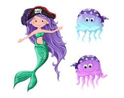 Lovely cartoon characters - a mermaid and jellyfish in pirate hats.