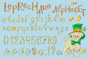 Gold letters of a St. Patrick s Day. Alphabet Set.