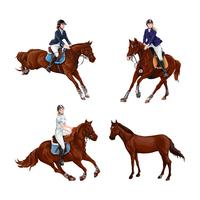 Woman, Girl riding horses Set, isolated. Family equestrian sport training horseback ride.
