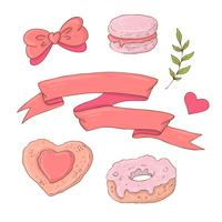Set of cute cartoon items for Valentine s Day with accessories.