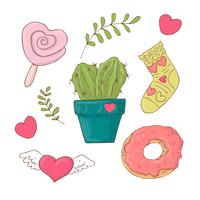Set of cute cartoon items for Valentine s Day with accessories. vector