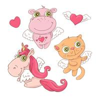 Set of cute cartoon animals angels for Valentine s Day with accessories. Vector illustration.