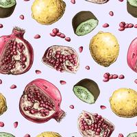 Vector seamless pattern with pomegranate fruits. Design for cosmetics, spa, pomegranate juice, health care products, perfume.