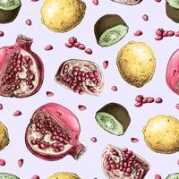 Modelo inconsútil del vector con las frutas de la granada. Diseño para cosméticos, spa, zumo de granada, productos para el cuidado de la salud, perfumes.