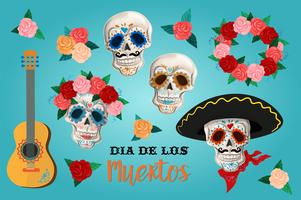Invitation set to the Day of the dead party. Dea de los muertos card with skeleton and roses. vector