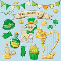Set of leprechaun characters poses , eps10 vector format