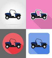atv auto buggy off wegen plat pictogrammen vector illustratie
