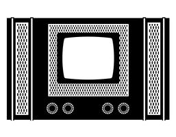 tv old retro vintage icon stock vector illustration black outline silhouette