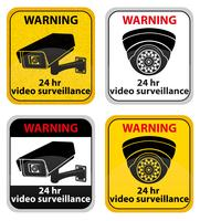 video surveillance warning sign vector illustration