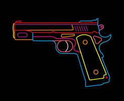 Pistola - letrero de neón