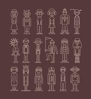Outline people icon set