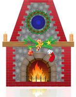 fireplace with christmas decorations vector illustration