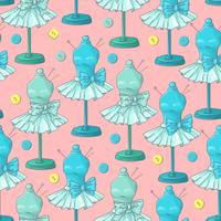 Seamless pattern of mannequin sewing accessories. Hand drawing. Vector illustration