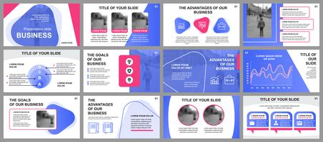 Business presentation slides templates from infographic elements. Can be used for presentation template, flyer and leaflet, brochure, corporate report, marketing, advertising, annual report, banner.