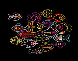 Fishes on black background