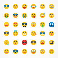 Flat Emoji Emoticon Vector Icon Set