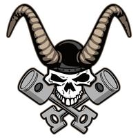 Skull with horns and crossed pistons vector illustration