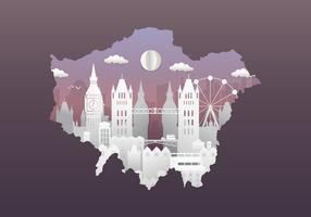 London City Skyline with Famous Buildings in Papercut Style