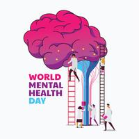 World Mental Health Day Concept  vector
