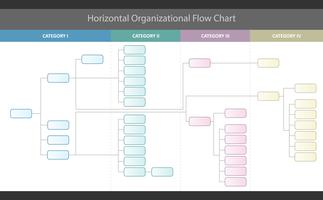 Horizontal Organizational Corporate Flow Chart Vector Graphic
