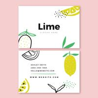 Beautiful Business Card Template With Lime And Doodles