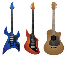 Electric Rock Guitar, Bass Guitar e Acoustic Guitar Vector Illustration