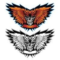 Skull wings with banner vector illustration