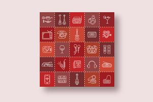 Linie Art Vector Icon Set