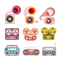 Gramophone en Tape Player vector iconen