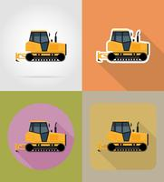caterpillar tractor flat icons vector illustration