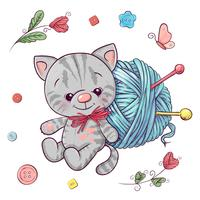 Set kitten and a ball of yarn for knitting. Hand drawing. Vector illustration
