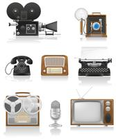 vintage and old art equipment video photo phone recording tv radio writing vector illustration
