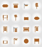 wooden board  flat icons vector illustration