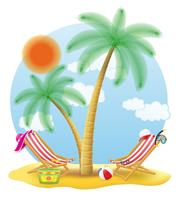 beach chairs stand under a palm tree vector illustration