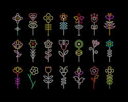 Neon Flower vector icons bundle