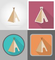 Wigwam Wild West iconos planos vector illustration