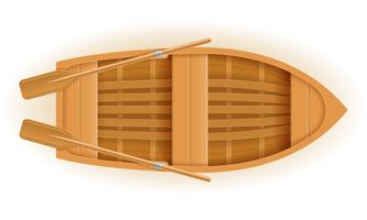 wooden boat top view vector illustration