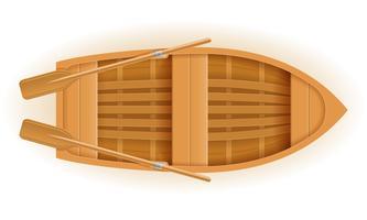 Ilustración de vector de vista superior de barco de madera