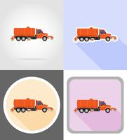 truck cleaning and watering the road flat icons vector illustration