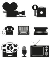 vintage and old art equipment silhouette video photo phone recording tv radio writing vector illustration